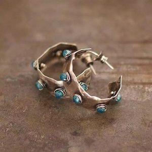 Laurel Turquoise and Silver Hoops